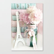 Shabby Chic Eiffel Tower Paris Peonies  Canvas Print