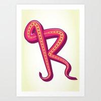 Curly R Art Print