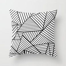 Abstraction Lines Close Up Black and White Throw Pillow