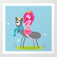Princess bubblegum and bear Art Print