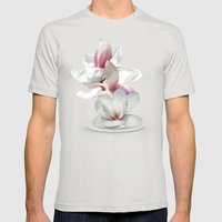 Magnolienblüten Mens Fitted Tee Silver SMALL
