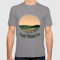 Sunsetting landscape photography of sky, lake and mountain. Mens Fitted Tee Tri-Grey SMALL