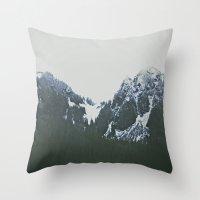 Vintage Snowy Mountain Throw Pillow