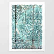 Teal & Aqua Botanical Do… Art Print