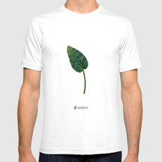 # Green SMALL White Mens Fitted Tee