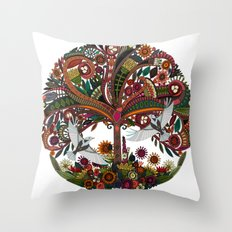 tree of life white Throw Pillow