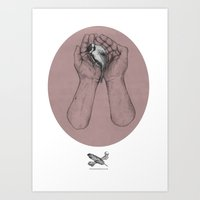 Hes got the whole bird in his hands Art Print