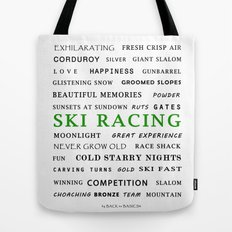 Ski Racing - Green Tote Bag