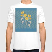 Flowers Blue Pattern Mens Fitted Tee White SMALL