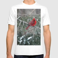 Winter Cardinal White SMALL Mens Fitted Tee