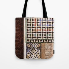 Details in The Alhambra Palace. Gold courtyard Tote Bag