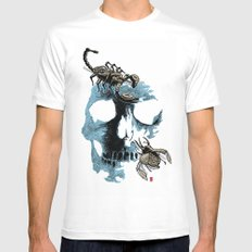 Skull three SMALL White Mens Fitted Tee