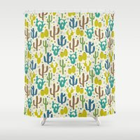 Prickly Cactus (Greens) Shower Curtain