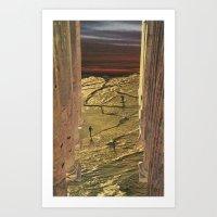 Golden Pillars 1 Art Print