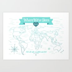 Where We've Been, World, Icy Blue Art Print