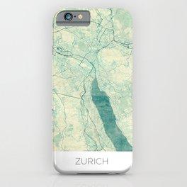 iPhone & iPod Case - Zurich Map Blue Vintage - City Art Posters