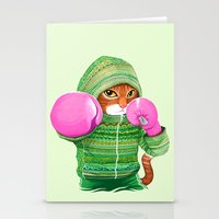 BOXING CAT 4 Stationery Cards