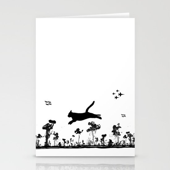 The Cat and Ink drop bombs Stationery Card