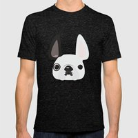 White Frenchie w/ Black Eye Mens Fitted Tee Tri-Black SMALL