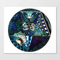 Canvas Print featuring Blue Toned Pentagram by Nix Hunt