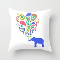 Multi-Colored Paisley El… Throw Pillow