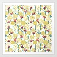 Red Panda Forest - Yello… Art Print