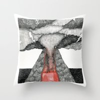 Robot Volcano Throw Pillow