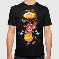 Santa has a Zeppelin to Deliver Christmas Gifts Mens Fitted Tee Tri-Black SMALL