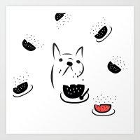 water melon frenchie Art Print