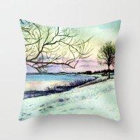 Winter Evening In Racine Throw Pillow