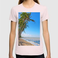 Coconut palms on beach Womens Fitted Tee Light Pink SMALL