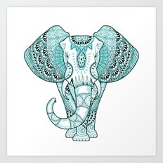Turquoise Elephant Art Print