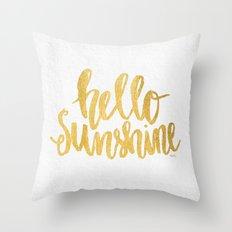 Hello Sunshine Gold and White Throw Pillow