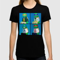 Dorky Teenage Yearbook Turtles Womens Fitted Tee Black SMALL