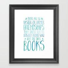Bookish Friendship - Blu… Framed Art Print