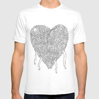 Doodle Heart Mens Fitted Tee White SMALL