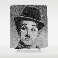 Chaplin portrait - Fingerprint Shower Curtain