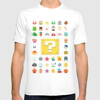 Power Ups! Mens Fitted Tee White SMALL