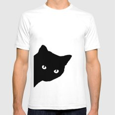 Meow SMALL White Mens Fitted Tee