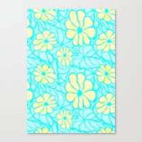 Summer Flowers In Blue Canvas Print