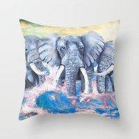 Elephants in crashing waves Throw Pillow