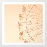 Ferris wheel on blush pink  Art Print
