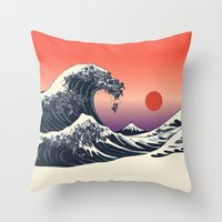 The Great Wave Of Black … Throw Pillow