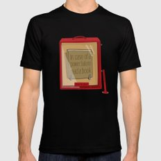 In case of a power failure: read a book SMALL Black Mens Fitted Tee