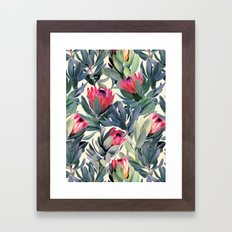 Painted Protea Pattern Framed Art Print