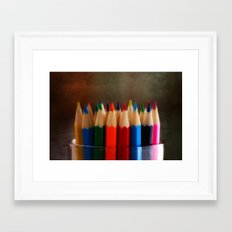 Rainbow Crayons Framed Art Print
