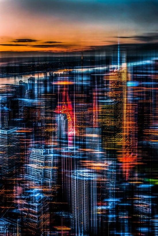 New York - the night awakes (orange) Art Print