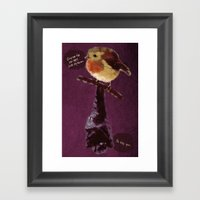 Bat and Robin Framed Art Print