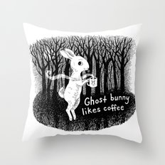 Ghost bunny likes coffee Throw Pillow