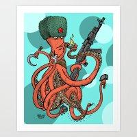 Russian Spy Octopus Art Print